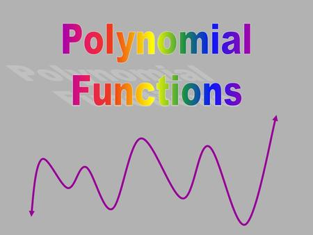 A polynomial function is a function of the form: All of these coefficients are real numbers n must be a positive integer Remember integers are … –2, -1,