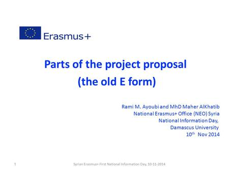 Parts of the project proposal