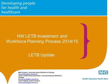 NW LETB Investment and Workforce Planning Process 2014/15 Mike Burgess, Associate Head of Workforce Planning