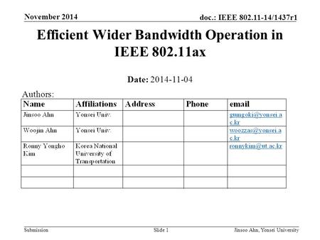Submission doc.: IEEE 802.11-14/1437r1 November 2014 Jinsoo Ahn, Yonsei UniversitySlide 1 Efficient Wider Bandwidth Operation in IEEE 802.11ax Date: 2014-11-04.
