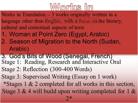 Stage 1: Reading, Research and Interactive Oral Stage 2: Reflection (300-400 Words) Stage 3: Supervised Writing (Essay on 1 work) *Stages 1 & 2 completed.