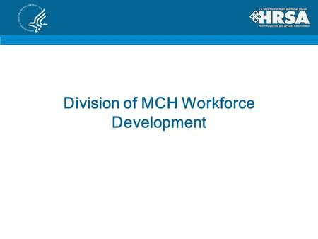 Division of MCH Workforce Development. The BIG Picture Associate Administrator, MCH Dr. Michael Lu Division of MCH Workforce Development Administrator,
