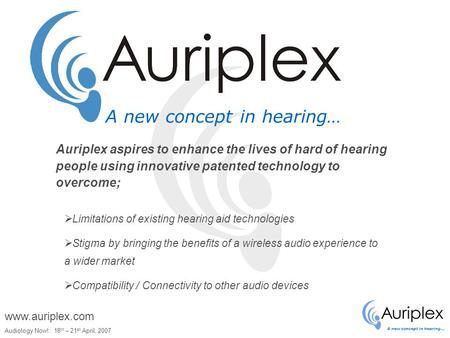 A new concept in hearing… Audiology Now!: 18 th – 21 st April, 2007 www.auriplex.com A new concept in hearing…  Limitations of existing hearing aid technologies.