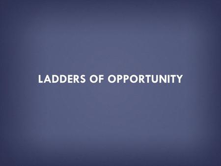 LADDERS OF OPPORTUNITY. HOW TO USE THIS PRESENTATION DECK  This slide deck has been created by the U.S. Department of Education as a resource tool for.