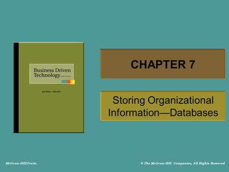 Storing Organizational Information—Databases