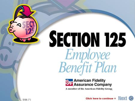ESB-271 Click here to continue . ® What is a Section 125 Plan? A Section 125 Plan allows you to deduct needed benefits from gross earnings before taxes.