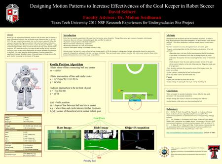 Designing Motion Patterns to Increase Effectiveness of the Goal Keeper in Robot Soccer David Seibert Faculty Advisor: Dr. Mohan Sridharan Texas Tech University.