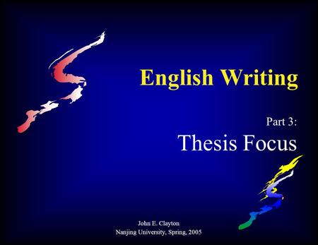 thesis focus Why the topic is interesting and important: address how you will focus the topic  the thesis statement guides you, enabling you to focus your research paper.