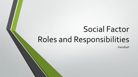 Social Factor Roles and Responsibilities