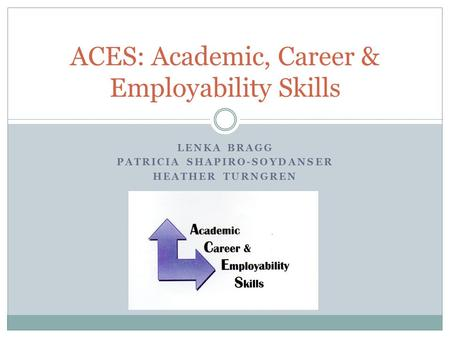LENKA BRAGG PATRICIA SHAPIRO-SOYDANSER HEATHER TURNGREN ACES: Academic, Career & Employability Skills.