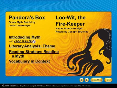 Pandora's Box Loo-Wit, the Fire-Keeper Introducing Myth