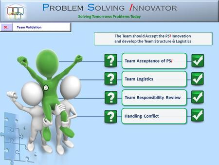 P roblem S olving I nnovator Solving Tomorrows Problems Today The Team should Accept the PSI Innovation and develop the Team Structure & Logistics The.
