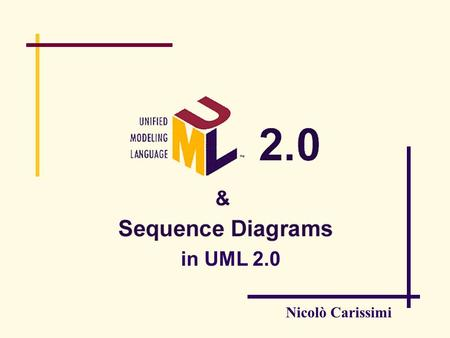 Nicolò Carissimi in UML 2.0. Summary what's behind UML: MDA UML 2.0 and MDA key concepts.