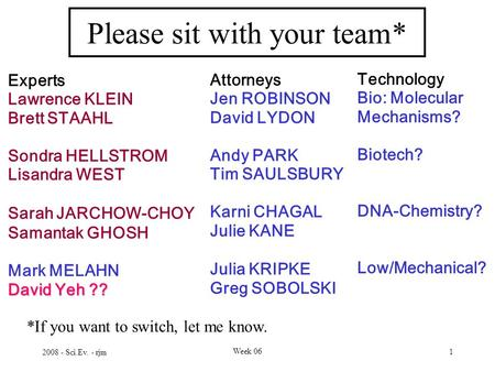 2008 - Sci.Ev. - rjm Week 06 1 Please sit with your team* Experts Lawrence KLEIN Brett STAAHL Sondra HELLSTROM Lisandra WEST Sarah JARCHOW-CHOY Samantak.