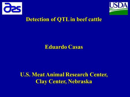 Detection of QTL in beef cattle Eduardo Casas U.S. Meat Animal Research Center, Clay Center, Nebraska.