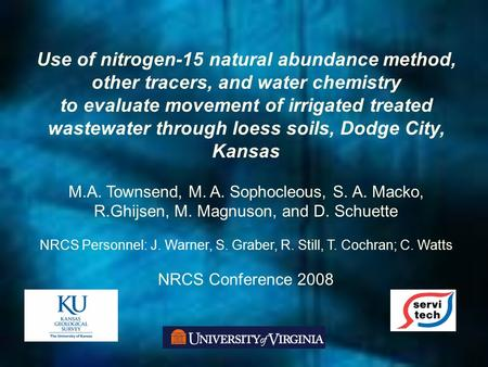 Use of nitrogen-15 natural abundance method, other tracers, and water chemistry to evaluate movement of irrigated treated wastewater through loess soils,