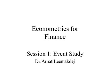 Econometrics for Finance