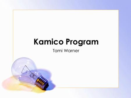 Kamico Program Tami Warner Agenda Program Overview Teacher Reasonability's Problems with Software Summarize Questions.