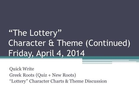 The Lottery - Short Stories (Fiction) - Questions for Tests and Worksheets