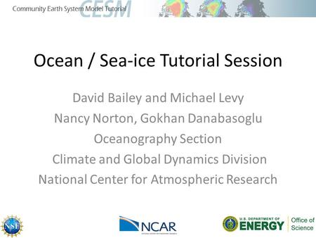 Ocean / Sea-ice Tutorial Session David Bailey and Michael Levy Nancy Norton, Gokhan Danabasoglu Oceanography Section Climate and Global Dynamics Division.