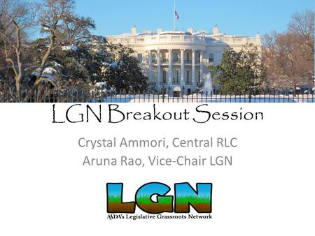 LGN Breakout Session Crystal Ammori, Central RLC Aruna Rao, Vice-Chair LGN.