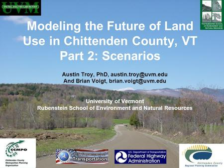 Austin Troy, PhD, And Brian Voigt, University of Vermont Rubenstein School of Environment and Natural Resources.