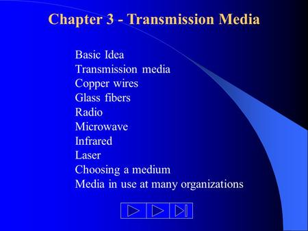 Chapter 3 - Transmission Media Basic Idea Transmission media Copper wires Glass fibers Radio Microwave Infrared Laser Choosing a medium Media in use at.