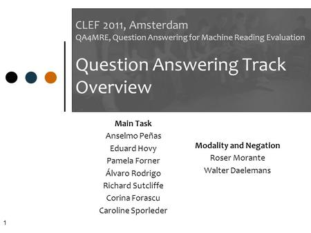 1 CLEF 2011, Amsterdam QA4MRE, Question Answering for Machine Reading Evaluation Question Answering Track Overview Main Task Anselmo Peñas Eduard Hovy.