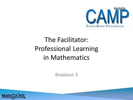 The Facilitator: Professional Learning in Mathematics Breakout 3.