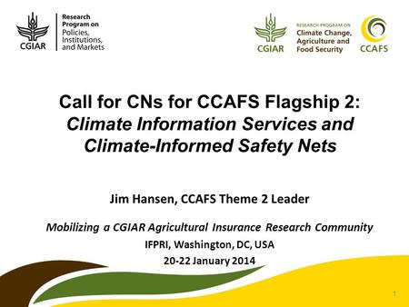 1 Call for CNs for CCAFS Flagship 2: Climate Information Services and Climate-Informed Safety Nets Jim Hansen, CCAFS Theme 2 Leader Mobilizing a CGIAR.