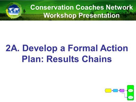 2A. Develop a Formal Action Plan: Results Chains Conservation Coaches Network Workshop Presentation.