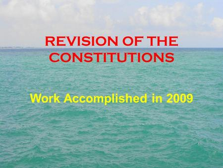 REVISION OF THE CONSTITUTIONS Work Accomplished in 2009.