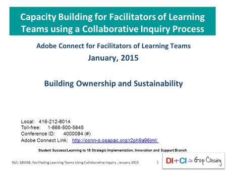 Capacity Building for Facilitators of Learning Teams using a Collaborative Inquiry Process Adobe Connect for Facilitators of Learning Teams January, 2015.
