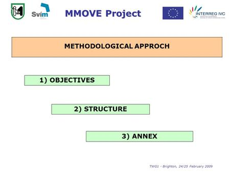 MMOVE Project TWG1 - Brighton, 24/25 February 2009 Identification and collection of the Best Practices METHODOLOGICAL APPROCH 1) OBJECTIVES 2) STRUCTURE.