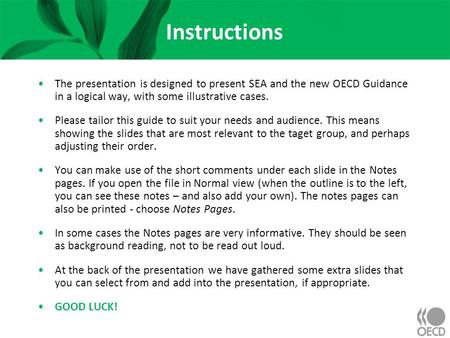 Instructions The presentation is designed to present SEA and the new OECD Guidance in a logical way, with some illustrative cases. Please tailor this guide.