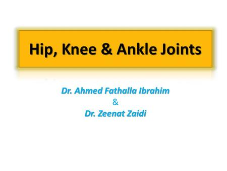 Dr. Ahmed Fathalla Ibrahim & Dr. Zeenat Zaidi. OBJECTIVES At the end of the lecture, students should be able to: type articular surfaces  List the type.