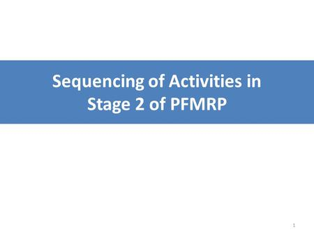 1 Sequencing of Activities in Stage 2 of PFMRP. 2 The problem Stage 2 has many activities Some activities cannot happen until others are complete Sequencing.