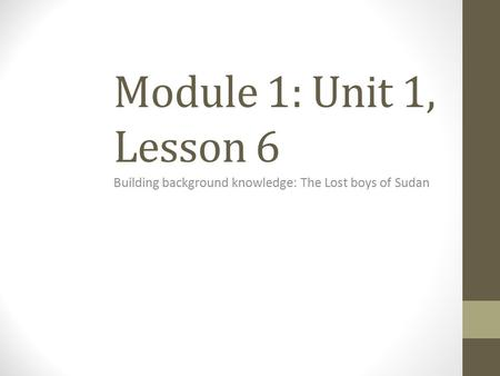 Building background knowledge: The Lost boys of Sudan