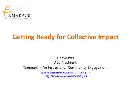 Getting Ready for Collective Impact