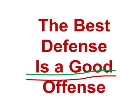 The Best Defense Is a Good Offense. Fundamentals.