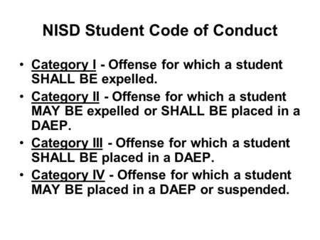 NISD Student Code of Conduct Category I - Offense for which a student SHALL BE expelled. Category II - Offense for which a student MAY BE expelled or SHALL.