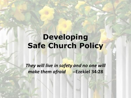 Developing Safe Church Policy They will live in safety and no one will make them afraid --Ezekiel 34:28.