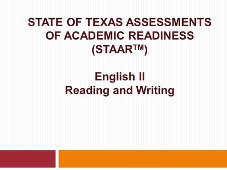 English II Writing Revision and editing assessed in separate sections of the test and equally emphasized—each section worth 24% of total test score.
