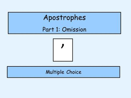 "Apostrophes Part 1: Omission Multiple Choice '. Where should I go? Apostrophes for omission (To show missing letters) ' Would you say ""Here is where I."