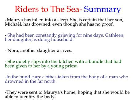 riders to the sea as a