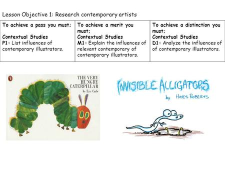 Lesson Objective 1: Research contemporary artists To achieve a pass you must; Contextual Studies P1: List influences of contemporary illustrators. To achieve.