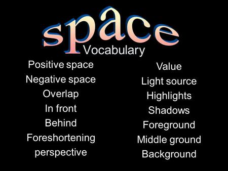 Vocabulary space Positive space Value Negative space Light source