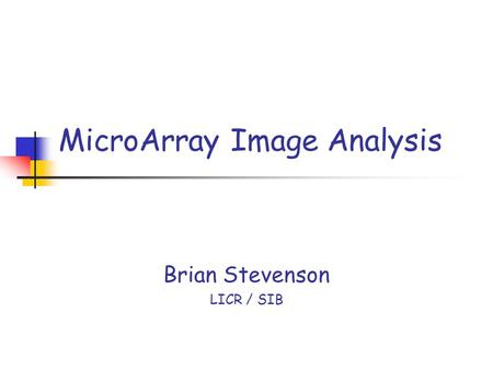 MicroArray Image Analysis