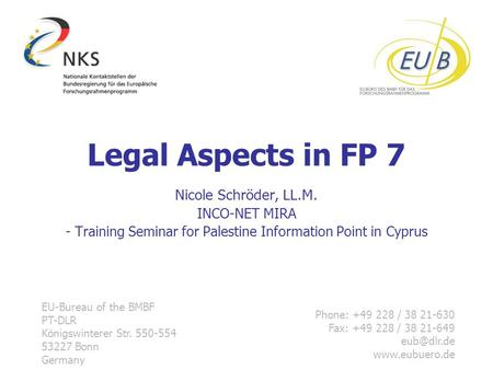 - Training Seminar for Palestine Information Point in Cyprus