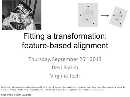 Fitting a transformation: feature-based alignment